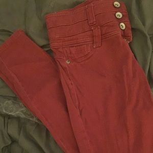 Red high waisted jeggings.